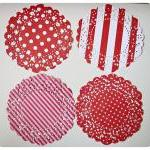 4 Parisian Lace Doily red p..