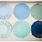 6 Parisian Lace Doily blue ..