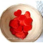 Red Heart shape velvet felt..