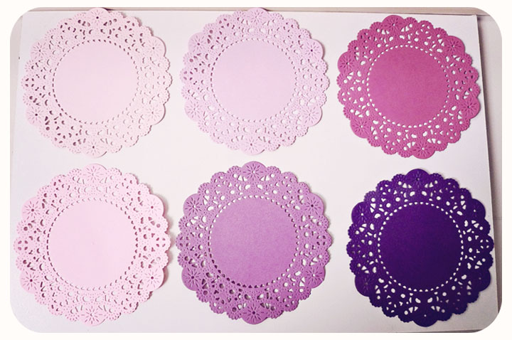 Parisian Lace Doily purples for Scrap booking or card making / pack 