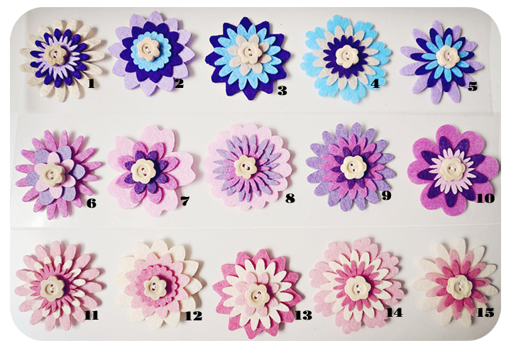 5 pieces of Flower felt embellishment Collection