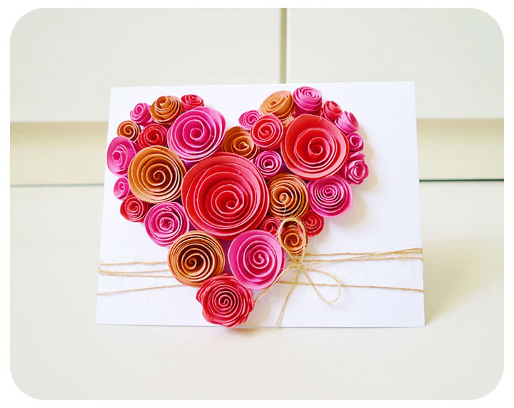 Heart-Shaped Swirl Flower Card