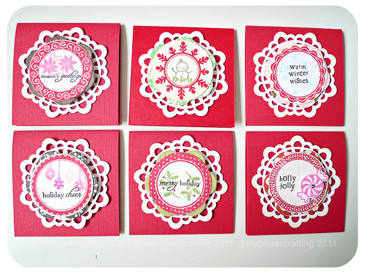 MIni 3 x 3 Doily Christmas cards