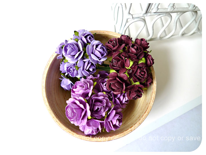 Flower purple Mulberry mixed color paper Rose Buds / pack