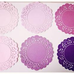 6 Parisian Lace Doily purples / pack