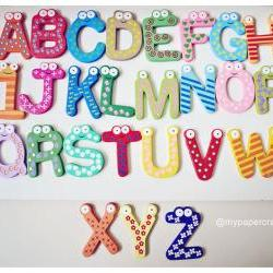 26pcs colorful wood alphabet letter + FREE numbers fridge magnet