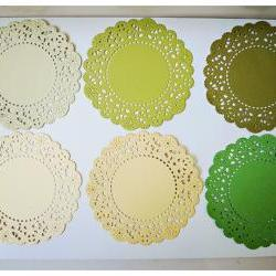 Parisian Lace Doily Green &amp; Yellow for Scrap booking or card making / pack  