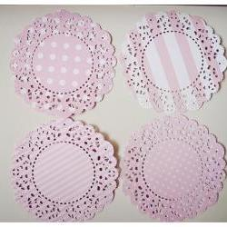 4 Parisian Lace Doily pink polka dot &amp; stripe / pack 