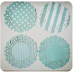 4 Parisian Lace Doily blue polka dot &amp; stripe / pack 
