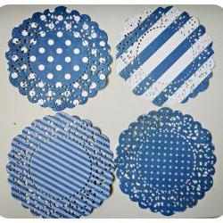 4 Parisian Lace Doily Dark Blue polka dot &amp; stripe / pack 