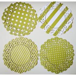 4 Parisian Lace Doily green polka dot &amp; stripe / pack 