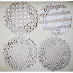 4 Parisian Lace Doily grey polka dot &amp; stripe / pack 