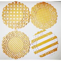 4 Parisian Lace Doily orange polka dot &amp; stripe / pack 