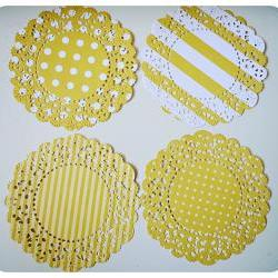 4 Parisian Lace Doily yellow polka dot &amp; stripe / pack 