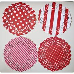 4 Parisian Lace Doily red polka dot &amp; stripe / pack 