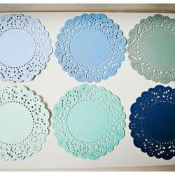 6 Parisian Lace Doily blue / pack 