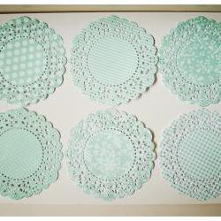 6 Parisian Lace Doily Aqua Mist / pack 