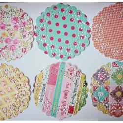 6 Parisian Lace Doily Mixed pattern paper / pack  
