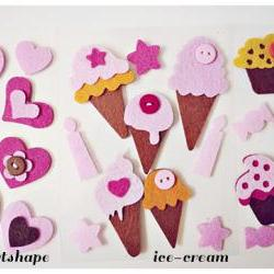 Felt cupcakes, ice-cream cones or heartshape  