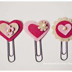 3 different felt heartshape paper clips