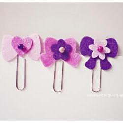 3 different felt ribbon paper clips