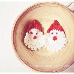 Stanta Claus x'mas crochet applique / pack