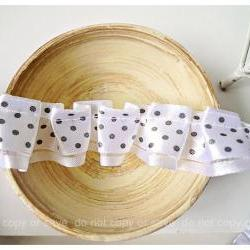 White polka dot double layered Ribbon