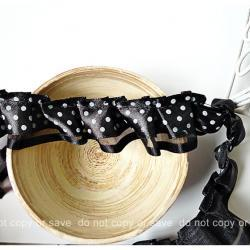 Black polka dot double layered satin ribbon trim - 2yards  