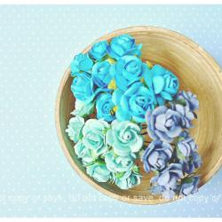 Blue Mulberry Rose Buds paper flower mixed color / pack