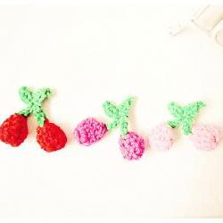 Cherries red, dark pink and light pink crochet applique with stem / pack