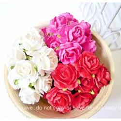 Millinery flowers heartshape Buds paper flower mixed color / pack