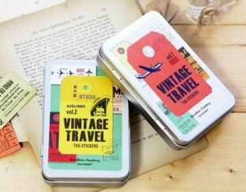 New Vintage Travel Sticker in iron case